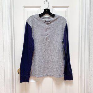 J Crew Double-knit Henley Long Sleeve Shirt Slim S